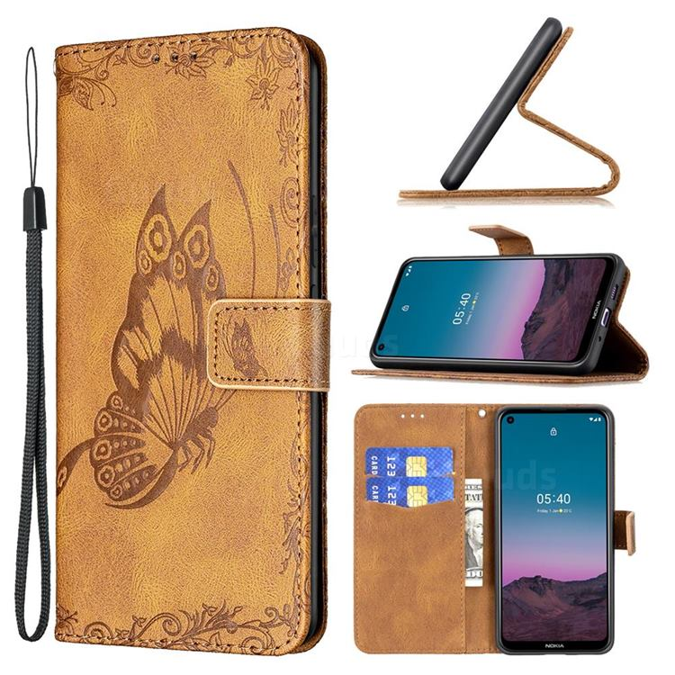 Binfen Color Imprint Vivid Butterfly Leather Wallet Case for Nokia 5.4 - Brown