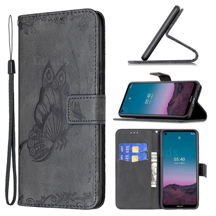 Binfen Color Imprint Vivid Butterfly Leather Wallet Case for Nokia 5.4 - Black