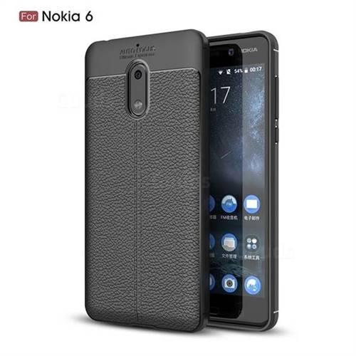 Luxury Auto Focus Litchi Texture Silicone TPU Back Cover for Nokia 6 Nokia6 - Black