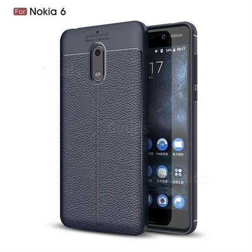 Luxury Auto Focus Litchi Texture Silicone TPU Back Cover for Nokia 6 Nokia6 - Dark Blue