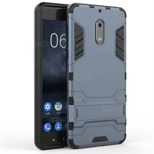 best website 6525c d8335 Armor Premium Tactical Grip Kickstand Shockproof Dual Layer Rugged Hard  Cover for Nokia 6 Nokia6 - Navy