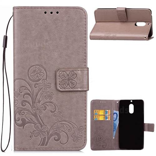 Embossing Imprint Four-Leaf Clover Leather Wallet Case for Nokia 6 Nokia6 - Grey
