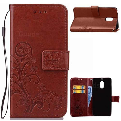 Embossing Imprint Four-Leaf Clover Leather Wallet Case for Nokia 6 Nokia6 - Brown
