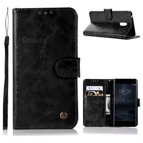 Luxury Retro Leather Wallet Case for Nokia 6 Nokia6 - Black