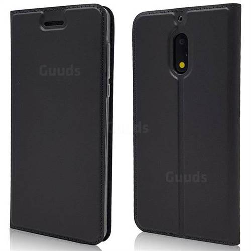 Ultra Slim Card Magnetic Automatic Suction Leather Wallet Case for Nokia 6 Nokia6 - Star Grey