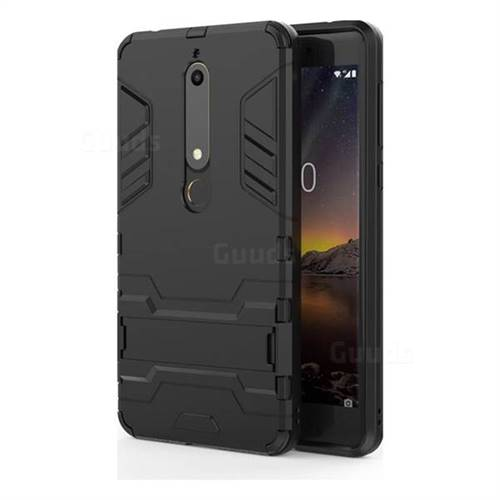 Armor Premium Tactical Grip Kickstand Shockproof Dual Layer Rugged Hard Cover for Nokia 6 (2018) - Black