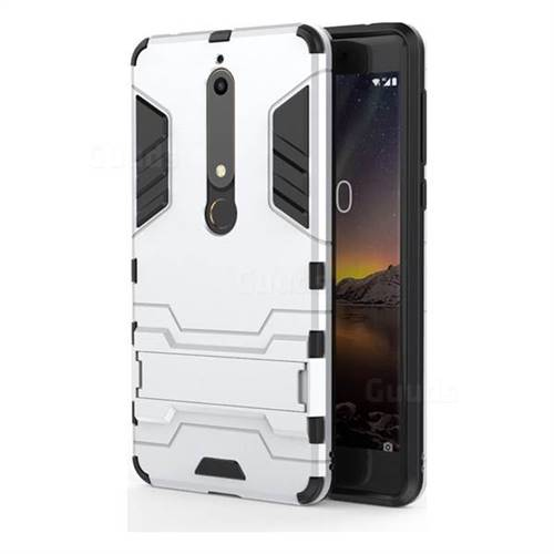 Armor Premium Tactical Grip Kickstand Shockproof Dual Layer Rugged Hard Cover for Nokia 6 (2018) - Silver