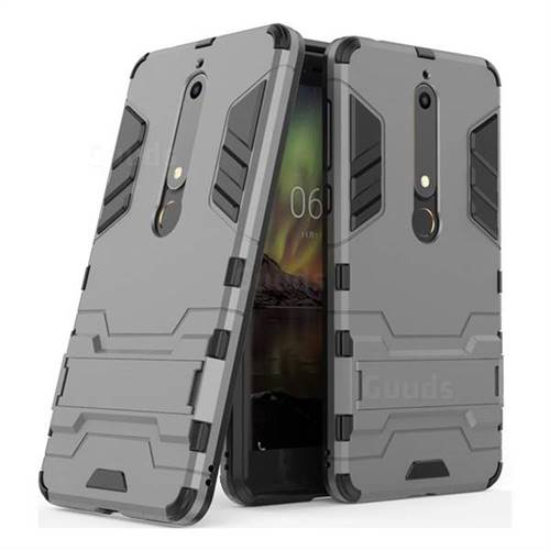 best service 67316 ae31e Armor Premium Tactical Grip Kickstand Shockproof Dual Layer Rugged Hard  Cover for Nokia 6 (2018) - Gray