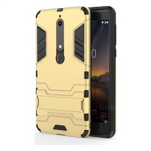 Armor Premium Tactical Grip Kickstand Shockproof Dual Layer Rugged Hard Cover for Nokia 6 (2018) - Golden