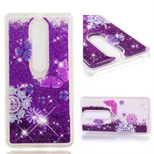 Dynamic Liquid Glitter Quicksand Soft TPU Case for Nokia 6 (2018) - Purple Flower Butterfly