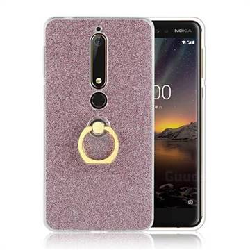 Luxury Soft TPU Glitter Back Ring Cover with 360 Rotate Finger Holder Buckle for Nokia 6 (2018) - Pink
