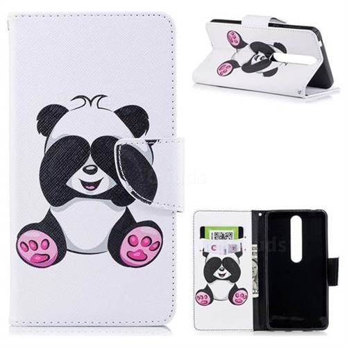 Lovely Panda Leather Wallet Case for Nokia 6 (2018)