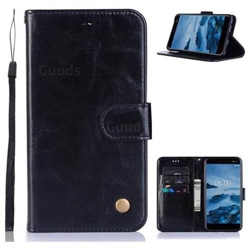 Luxury Retro Leather Wallet Case for Nokia 6 (2018) - Black