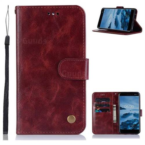 Luxury Retro Leather Wallet Case for Nokia 6 (2018) - Wine Red