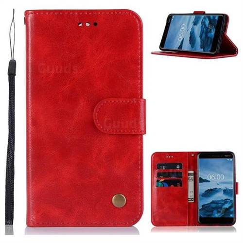 Luxury Retro Leather Wallet Case for Nokia 6 (2018) - Red