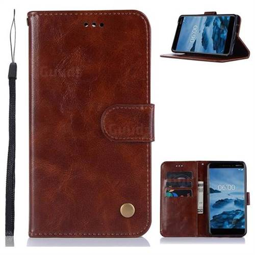 Luxury Retro Leather Wallet Case for Nokia 6 (2018) - Brown