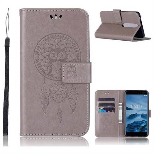 Intricate Embossing Owl Campanula Leather Wallet Case for Nokia 6 (2018) - Grey