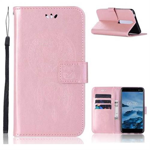 Intricate Embossing Owl Campanula Leather Wallet Case for Nokia 6 (2018) - Rose Gold