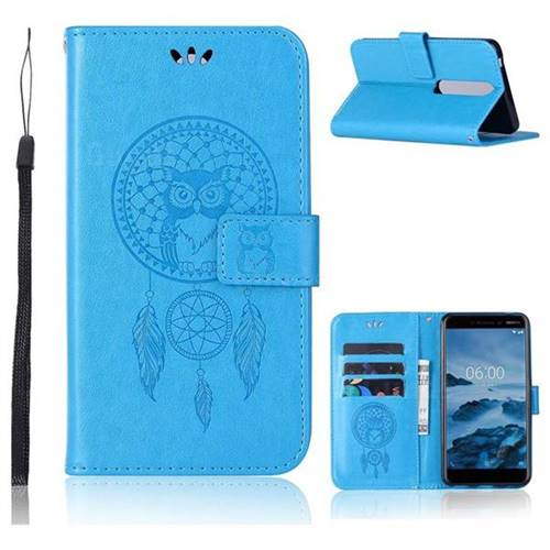 Intricate Embossing Owl Campanula Leather Wallet Case for Nokia 6 (2018) - Blue