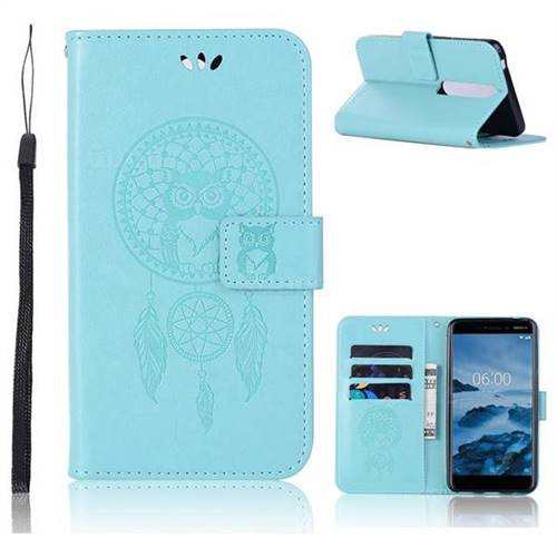 Intricate Embossing Owl Campanula Leather Wallet Case for Nokia 6 (2018) - Green