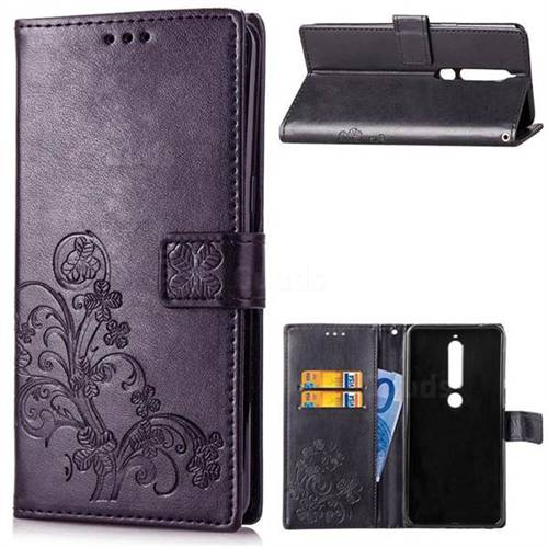 Embossing Imprint Four-Leaf Clover Leather Wallet Case for Nokia 6 (2018) - Black