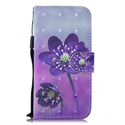 reputable site a243f 6daa7 Purple Flower 3D Painted Leather Wallet Phone Case for Nokia 6.1