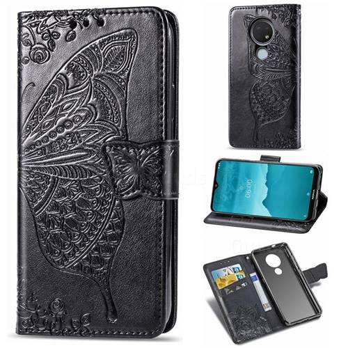Embossing Mandala Flower Butterfly Leather Wallet Case for Nokia 6.2 (6.3 inch) - Black