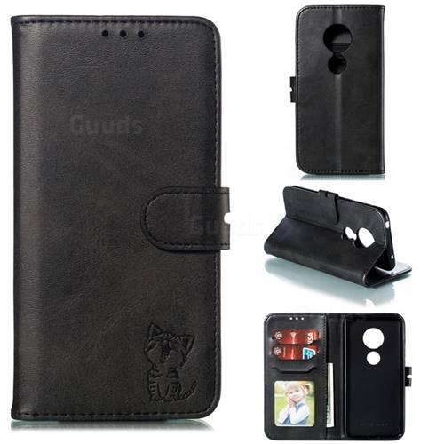 Embossing Happy Cat Leather Wallet Case for Nokia 6.2 (6.3 inch) - Black