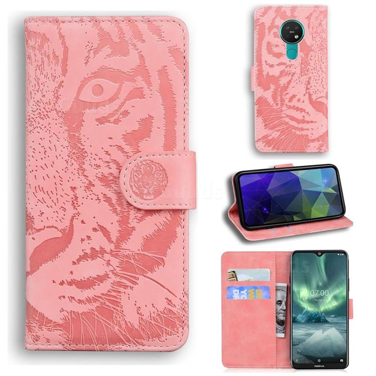Intricate Embossing Tiger Face Leather Wallet Case for Nokia 6.2 (6.3 inch) - Pink
