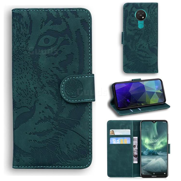 Intricate Embossing Tiger Face Leather Wallet Case for Nokia 6.2 (6.3 inch) - Green