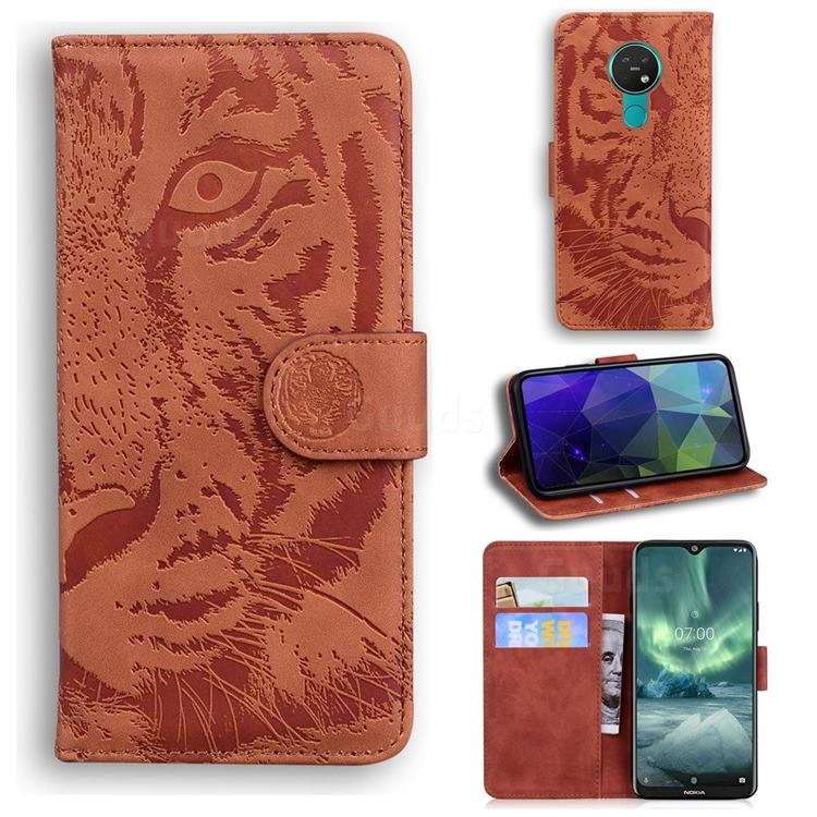 Intricate Embossing Tiger Face Leather Wallet Case for Nokia 6.2 (6.3 inch) - Brown