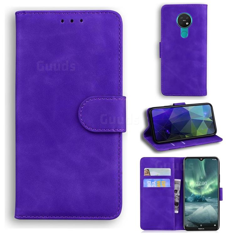 Retro Classic Skin Feel Leather Wallet Phone Case for Nokia 6.2 (6.3 inch) - Purple