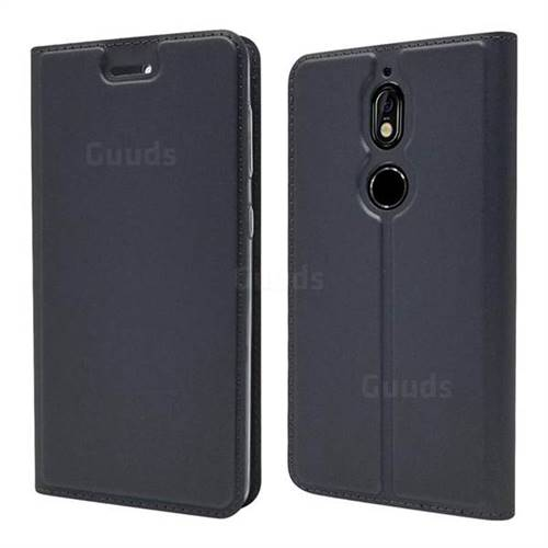 Ultra Slim Card Magnetic Automatic Suction Leather Wallet Case for Nokia 7 - Star Grey