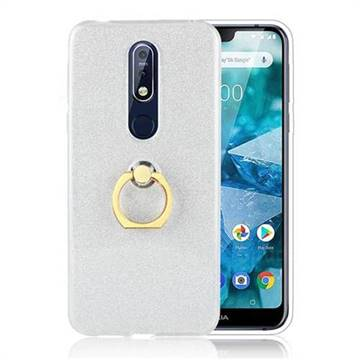 Luxury Soft TPU Glitter Back Ring Cover with 360 Rotate Finger Holder Buckle for Nokia 7.1 - White