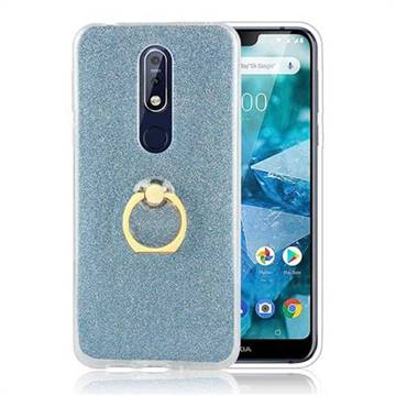 Luxury Soft TPU Glitter Back Ring Cover with 360 Rotate Finger Holder Buckle for Nokia 7.1 - Blue
