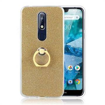 Luxury Soft TPU Glitter Back Ring Cover with 360 Rotate Finger Holder Buckle for Nokia 7.1 - Golden