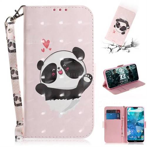 Heart Cat 3D Painted Leather Wallet Phone Case for Nokia 7.1