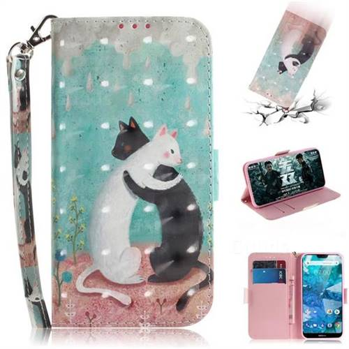 Black and White Cat 3D Painted Leather Wallet Phone Case for Nokia 7.1