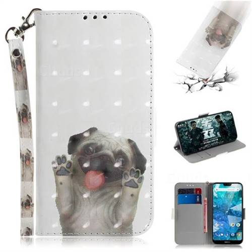 Pug Dog 3D Painted Leather Wallet Phone Case for Nokia 7.1