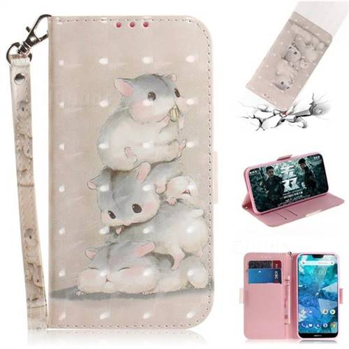 Three Squirrels 3D Painted Leather Wallet Phone Case for Nokia 7.1