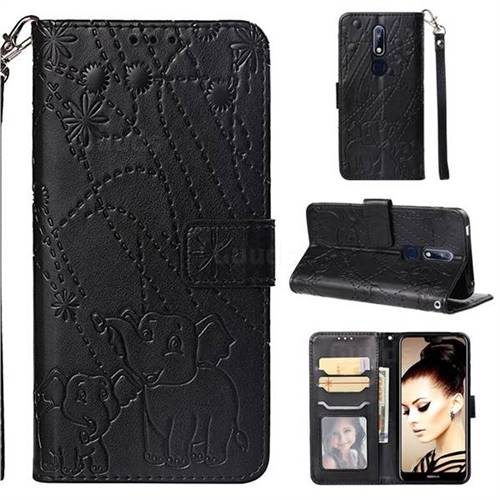 Embossing Fireworks Elephant Leather Wallet Case for Nokia 7.1 - Black