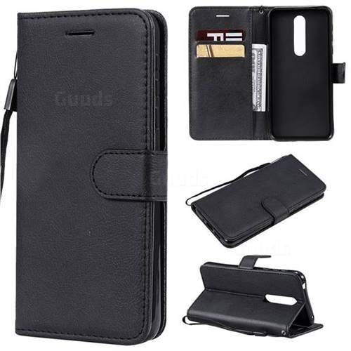 Retro Greek Classic Smooth PU Leather Wallet Phone Case for Nokia 7.1 - Black