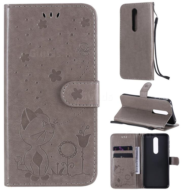 Embossing Bee and Cat Leather Wallet Case for Nokia 7.1 - Gray