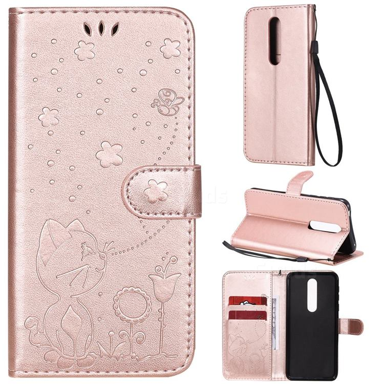Embossing Bee and Cat Leather Wallet Case for Nokia 7.1 - Rose Gold
