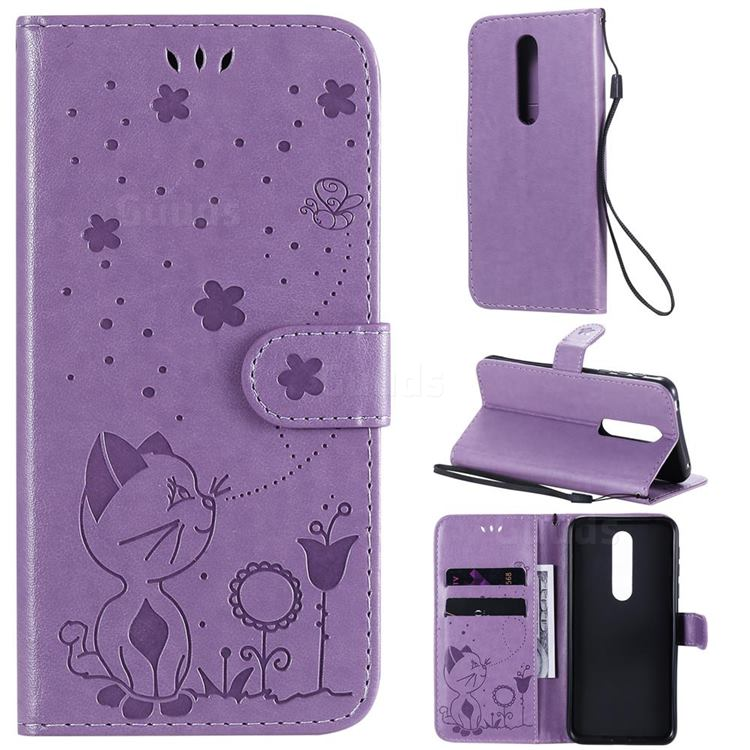 Embossing Bee and Cat Leather Wallet Case for Nokia 7.1 - Purple