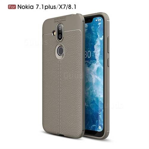 Luxury Auto Focus Litchi Texture Silicone TPU Back Cover for Nokia 8.1 (Nokia X7) - Gray