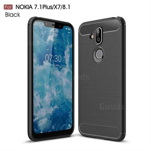 Luxury Carbon Fiber Brushed Wire Drawing Silicone TPU Back Cover for Nokia 8.1 (Nokia X7) - Black