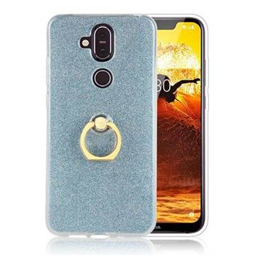 Luxury Soft TPU Glitter Back Ring Cover with 360 Rotate Finger Holder Buckle for Nokia 8.1 (Nokia X7) - Blue
