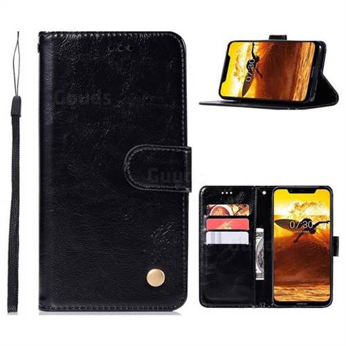 Luxury Retro Leather Wallet Case for Nokia 8.1 (Nokia X7) - Black