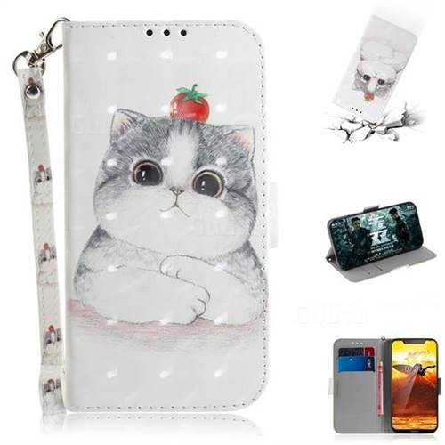 Cute Tomato Cat 3D Painted Leather Wallet Phone Case for Nokia 8.1 (Nokia X7)